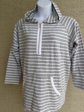 NWT $79 msrp ANNE KLEIN SPORT HOODED 3/4 ZIP  FRENCH TRERRY TOP GRAY STRIPES S