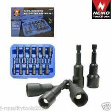 12 PC MAGNETIC NUT DRIVER BIT TOOL SET METRIC AND SAE STANDARD DRIVER KIT