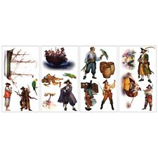 NEW 17 Pirate Wall Stickers Decals Removable Vinyl Appliques Treasure Chest Ship