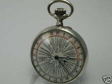 Rarity Extreme Rare 24 hour world time pocket watch regulator from 800 Silver