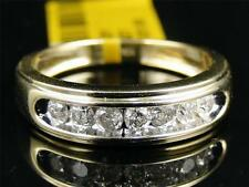 10K Mens Yellow Gold Round Diamond 6MM Channel Set Wedding Band Ring 1/2 Ct