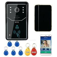 Touch Key WiFi IR Wireless Video Door Phone Doorbell Intercom System W/RFID Key