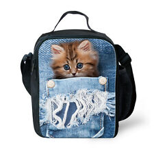 Vintage Lunch Box Fashion Cat Insulated Lunch Bag Bento Box Food Storage Cooler