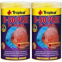 2 x Tropical D-50 Plus 1000 ml Flocken Discus Flocken Fischfutter (12,20€/L)