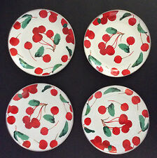 POTTERY BARN SALAD PLATES CHERRY ENAMEL Set of 4 BPA Free  NEW WITH TAGS