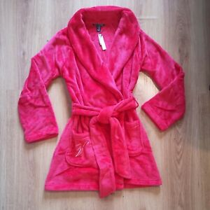 Victoria's Secret Short Classic Red Bright Cherry Dressing Gown Bath Robe XS/S