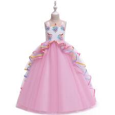 US STOCK  Girls Princess Unicorn Flower Tulle Tutu Embroidered long Dress O45 MG