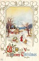 Christmas~Mother Pulls Girl on Sled in Snow~Pine Cone Border~White Emb~Nash C-41