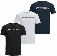 Jack & Jones Mens 3 Pack Crew Neck Short Sleeve Logo T Shirt Black Navy White
