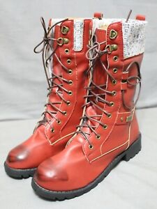 YUAN GUANG women's zip/lace up block heel mid calf boots size 8 M burgundy NEW