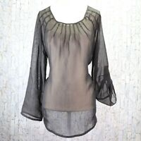 Additions by Chicos Black Sheer Blouse Size 1 Womens 8 Medium Roll Tab Slv Top