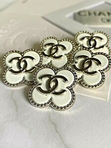 Set LOT 5 Stamped Button Ø22 mm 0,87 inch Knopf Buttons Coco Chanel CC Logo Rare