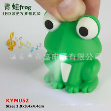 Green Frog Sound LED Light Lamp Flashlight Keyring Key Chain Kids Gift Toy