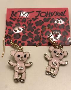 Betsey Johnson Lovely Pink Enamel Heart Hook Crystal Bear Earrings NWT