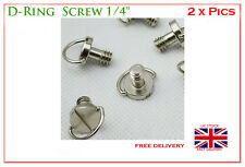 """Steel D-Ring Hinged Screw 1/4""""  for Tripod Quick Release Plate SS Stainless UK"""