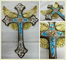Decor Antique Rustic Western Old World Style Turquoise Jewels Wall Cross 10x14