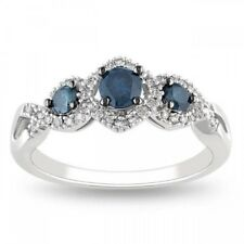 3 Stone Fancy Halo Solitaire 1.55Ct Blue Diamond Engagement Ring In 925 Silver