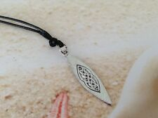 PEWTER SURFBOARD CHARM BLACK CORD LOBSTER CLASP SILVER TONE CHAIN PENDANT