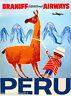 Peru Inca South America Little Boy Llama Vintage Travel Advertisement Poster