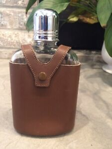 VINTAGE Retro Whiskey Hip Flask BOSCA Leather Top Grain Cowhide Case Glass