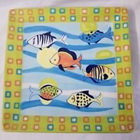 Retro Reef Collection Serving Platter Plate Style Eyes Baum Bros Fish Square