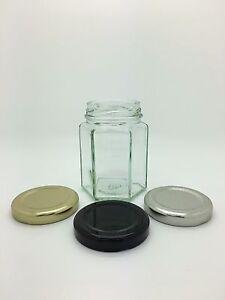 Hexagonal Glass Jam Jars 4oz (110ml) Wedding Favours - choice of 48mm lids