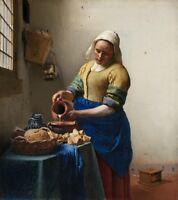 Laitière Johannes Vermeer Repro Art Photo / Affiche Imprimé Satin /Toile / Mat