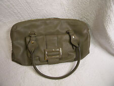 Liz Claiborne New York Greenish/Tan Genuine Leather Medium Shoulder Bag Used One