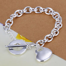 wholesale sterling solid silver fashion charms heart chain Bracelet Xcsb275
