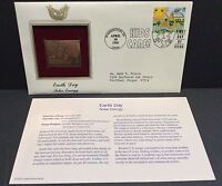 Earth Day Solar Energy 22kt Gold 1995 Stamp Commemorative Replica