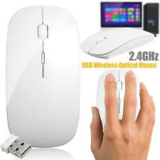 Delgado 2.4 GHz Scroll Mouse Inalámbrico sin Cable Óptico USB para PC Mac Laptop Blanco
