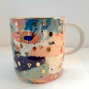 "Anthropologie Gold Modern Art Mug Cup 4"" tall"