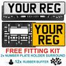 Pair oblong square pressed number plates metal 4x4 car registration GB UK Legal