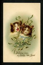Cat Cats Kittens New Year's Series # 1064 Embossed 1909 Vintage  postcard