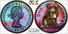 Toned 1953 Great Britain One Penny  PCGS UNC Detail