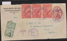O) 1924 COSTA RICA, MAP OF GUANACASTE SCOTT A81, WITH TAX 45 CENTIMOS CHIFFRE FO