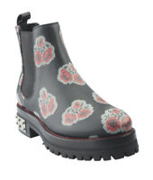 Alexander McQueen Floral Black Leather Ankle Boots, Size 6.5
