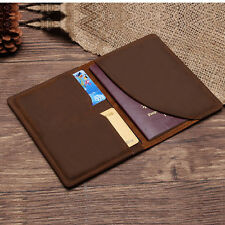 Passport Holder Cover Genuine Leather Ticket Class Travel Wallets Chocolate New