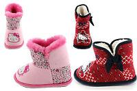 Girls Children Hello Kitty Slipper Boots Pink Red Navy Childrens Size UK 6 - 12