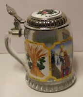 G. Heileman Brewing Co-Beer Stein-Clear Glass Eagle Logo-1985-Excellent Vintage