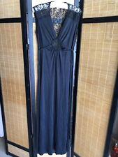 Vintage Black Knit Nylon Long Peignoir Nightgown Dress Sheer Lace Bust 38 Tie