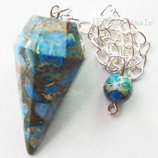Beautiful Blue Faceted Sea Sediment Jasper & Pyrite Pendulum Pendant Bead L373