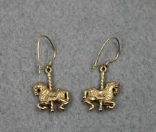 James Avery 14K Yellow Gold Carnival Circus Carousel Horse Earrings