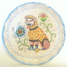 Italian Lion and Flower Plate Artisan Signed Deruta Ceramic 12 inch