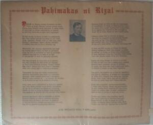 """Vintage """"Pahimakas Ni Rizal"""" (Rizal's Farewell) Philippines POSTER"""