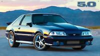 "Foxbody Mustang Black 5.0 36""x64"" VINYL BANNER Muscle Car MAN CAVE GARAGE SIGN"