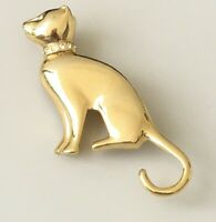 Vintage   Cat brooch Pin gold tone metal crystals