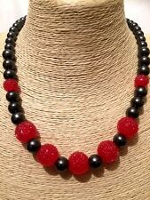 Womens Ladies Statement Red MULTI COLOURED Beaded Faux Pearl Chain Necklace