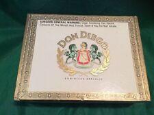 "Don Diego Wooden Cigar Box Vintage w/ Cardboard Divider 60 Babies 8"" Long Used"