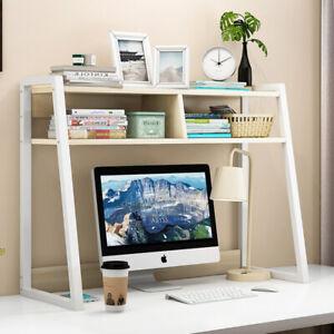 Zion Versatile Desk Hutch Storage Shelf Unit Organizer (White Oak)